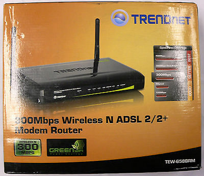 TRENDnet 300Mbps Wireless N ADSL 2/2+ Modem Router TEW-658BRM (MA)