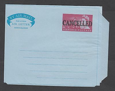 AIRMAIL Sixpence Cover Elizabeth II AEROGRAMME Air Mail Letter-Cancelled