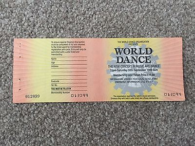World Dance 1989 Ticket With Stubb Rave Flyers Flyer