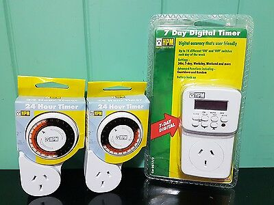 1 x HPM Digital Electrical Powerpoint 7 Day Timer & 2 x HPM Mechanical timers