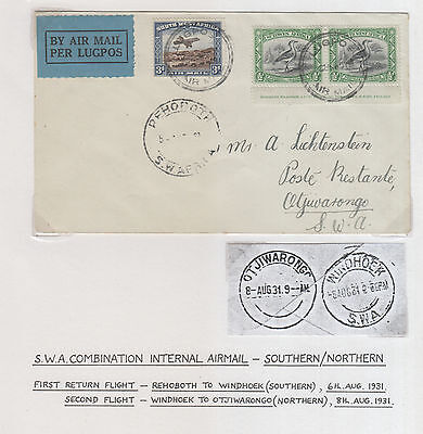 South West Africa,  Flight Cover 1931 Windhoek To Otjiwarongo