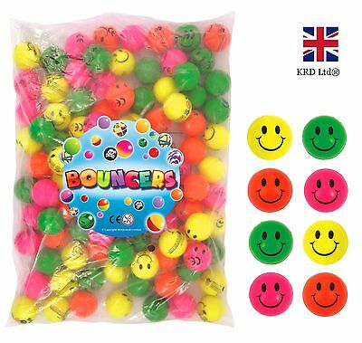 SMILEY BOUNCY JET BALLS Kids Birthday Party Loot Bag Gifts Toys Childrens 3.5 cm