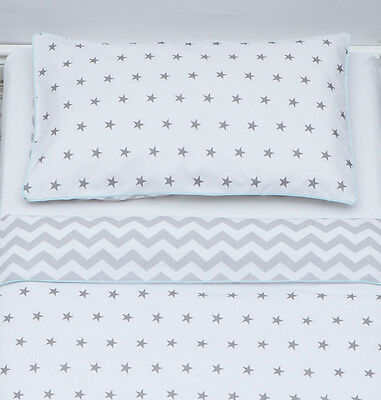 100% Cotton cot bed duvet cover set bedding grey stars and chevron mint piping