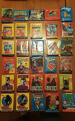 Collection of x30 Old Sealed Collector Card Wax Packs - 70s/80s Cards & Gum