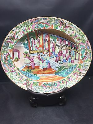 Antique Big Chinese/Cantonese Families Rose Plate 19th Century