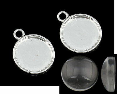Round Cabochon Earring / Charm Pendant Silver & Glass 12mm inner 20 pieces