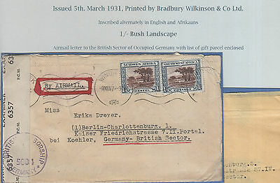 South West Africa,  Flight Cover 1947 To Germnay , See Scan Very Interesting