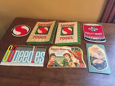 VINTAGE LOT SEWING NEEDLE  BOOKS PACKS ADVERTISING, Smelly,SAFEWAY,Cook's Paint