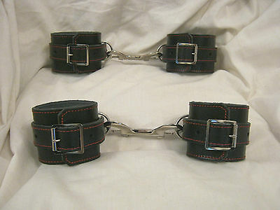 Real Leather Fetish/Bondage Quality Black & Red Cotton Ankle & Wrist Restraints
