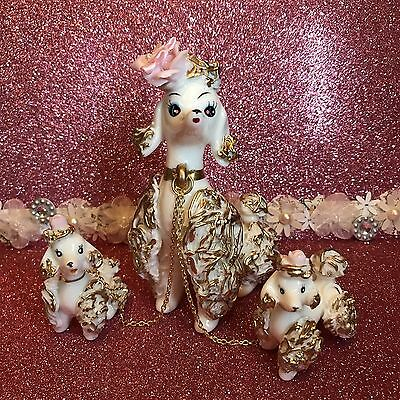 Vtg Gold Spaghetti White Poodle Family Gold Chain Figurines Pink Roses Japan