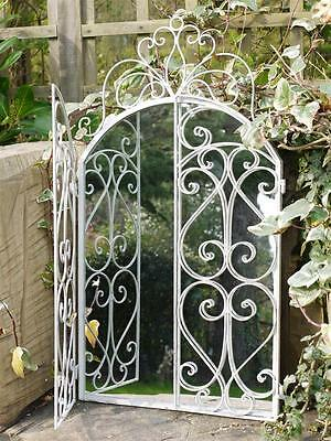 New Large Ornate Arched Metal Framed Door Outdoor Garden Wall Arch Mirror 75cm
