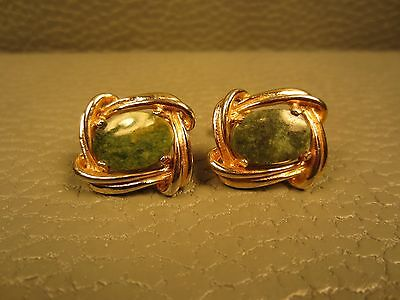 Vintage Jade Twisted Border Yellow Gold Plated Cuff Links