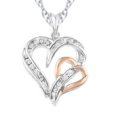 1/10 Ctw Round Natural Diamond Heart Pendant 14k Gold Over Sterling Silver 925