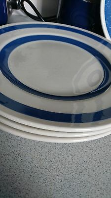 "set of 3  Vintage blue n white 10"" dinner plates chef ware Staffordshire"