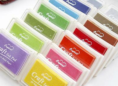 Craft Inkpad Ink Pad Rubber Stamps Wood Fabric Paper Blue Red Black Pink Green