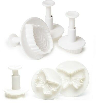 Hillys Kitchen Fondant Plunger Cutters, Butterfly & Leaf Moulds, Cake Decoration