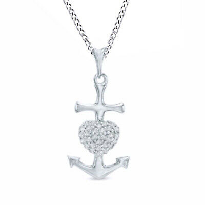 1/10 Ctw Natural Diamond Heart Anchor Pendant 14k Gold Over 925 Sterling Silver