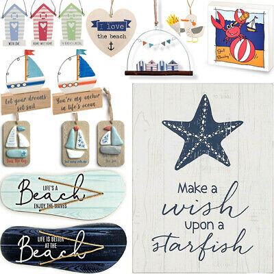 NAUTICAL WOODEN HANGING / Retro Seaside Home Beach Arrow Sign Shabby Sea Hanger