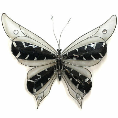 Butterfly Metal Wall Art Hanging Garden Ornament Iron Black Silver BIG 40cm
