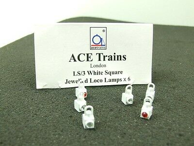 Ace Trains O Gauge LS3 White Square Jewelled Loco Lamps Pack of Six **TSM Ltd**