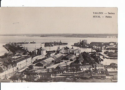 Real Photo Postcard Russia Estonia Tallinn Reval Port Ships 1920s Rare Edition