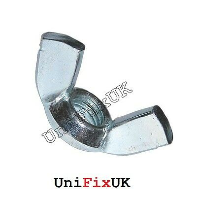 10x M8 WING BUTTERFLY NUTS Steel Bright Zinc Plated Corrosion Protected Bolts