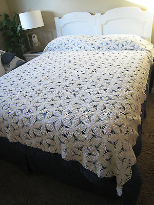 Vintage/antique Hand Crocheted Bedspread-White
