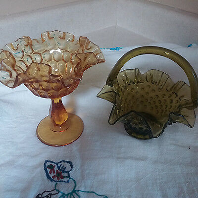 Vintage Hobnail Green Glass Basket And Ruffle Candy Dish