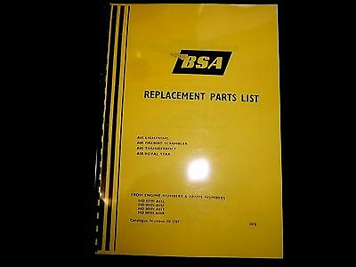 Bsa A50 Royal Star A65 Lightning Models Parts Book Manual 1970 00-5707 - Bp102