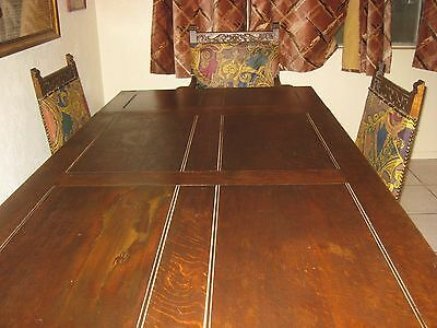 Antique Dining set Elizabethan Style English Oak Table 6 Chairs Carved Bulbs