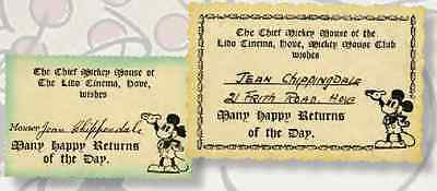 Rare set of 2 Mickey Mouse Club Cards c.1930 Walt Disney