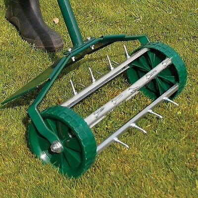 Outdoor Garden Steel Spike Roller Lawn Aerator (With Metal Protection Guard)