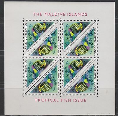Maldive Islands Sc. 109 Tropical Fishes Angelfish 1963 Mini Sheet of 8 MNH