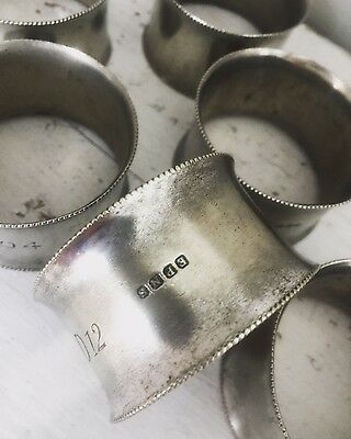 Vintage antique silver plated set of 6 napkin rings