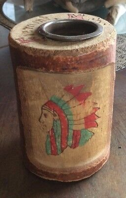 Vintage Souvenir Indian Bank Fremont Michigan Carved Wood Coin Bank