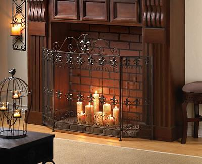 French Revival Style Fireplace Screen Iron Den Bedroom Mantel Fire Decor NEW