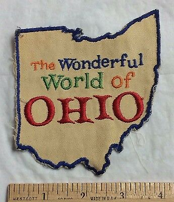 Vintage The Wonderful World of Ohio OH State Souvenir State Outline Patch