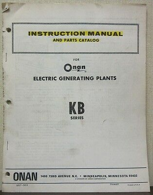 Onan KB Series Electric Generating Plants Instruction Manual & Parts Catalog