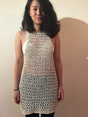 RARE VINTAGE 1950's CROCHET LACE MESH SEE THROUGH DRESS SIZE SMALL/MEDIUM