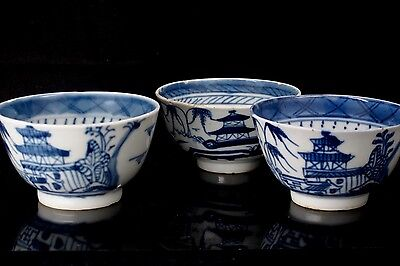 Antique 18th Century Chinese Export Blue Canton 3 Tea Cups