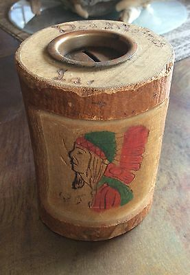 Vintage Souvenir Indian Bank Des Moines Iowa  Carved Wood Coin Bank