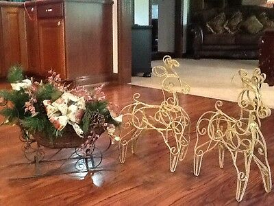 Beautiful Large Floral Christmas Sleigh with Reindeer