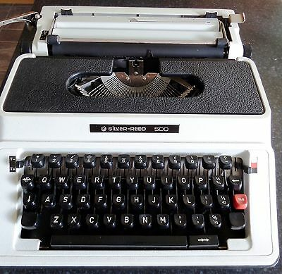 Vintage Silver-Reed 500 White Portable Typewriter with Case VGC & New Ribbon
