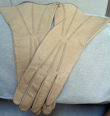 Vintage ladies soft leather gloves 1920's/1930's caramel immaculate size 7ish