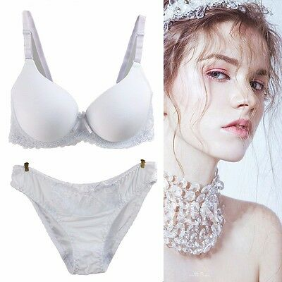 Women Ladies Underwear White Lace Padded Push up Bra sets Knicker Lingerie Suits