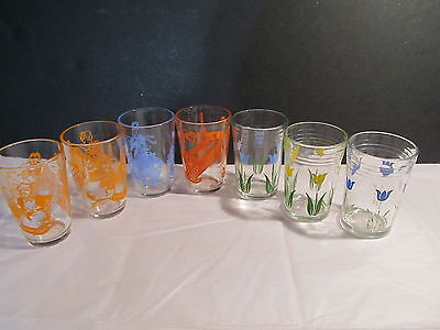 7 Vtg Swanky Swig Juice Glasses -3 Busy Betsy, 3 Tulips & 1 With Antiques