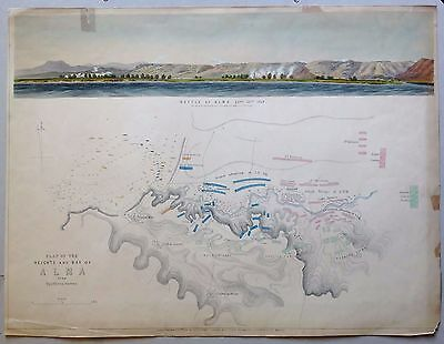 CRIMEAN WAR,  Battle of the Alma, elevation and plan , 1854.