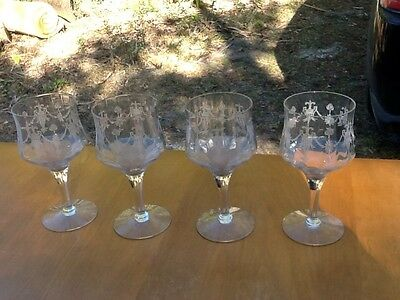 4 Lovely Fleur De Lis Over Urn Morgantown RICHMOND  Etched Optic Wine Glasses