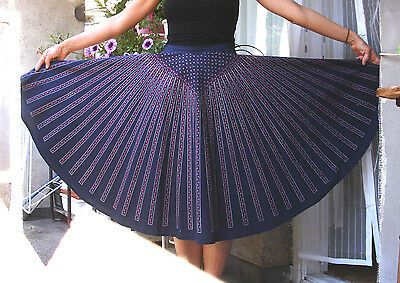 Full circle cotton skirt vintage 1950's navy unique pattern
