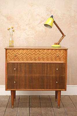 Vintage Retro Mid Century Uniflex Walnut Chest of Drawers